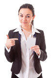 Executive employee shows her badge Royalty Free Stock Photo