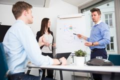 Executive Explaining Presentation To Coworkers In Office. Confident male executive explaining presentation to coworkers in office Royalty Free Stock Images