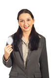 Executive female holding light bulb Stock Image