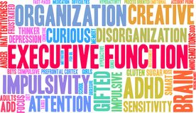 Executive Function ADHD Word Cloud royalty free illustration