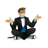 Executive Geek Sitting Royalty Free Stock Images
