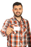 Executive gives visiting card Stock Image