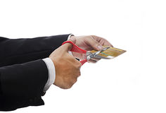 Executive Hand Cutting credit card Stock Images