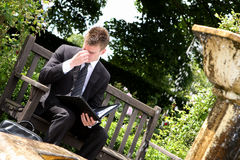 Executive Headache. A young executive businessman in a dark pinstripe suit sitting on a garden bench next to a fountain with an open black folder on his lap and royalty free stock image