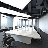 Executive high rise modern empty business office conference room overlooking a city. Royalty Free Stock Image
