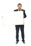 Executive holding placard royalty free stock image