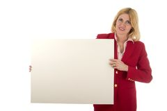 Executive Holds Blank Sign Royalty Free Stock Photos
