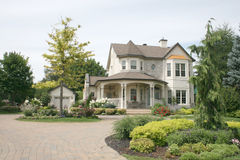 Executive House with unistone driveway. An Executive House with unistone Circular Driveway Royalty Free Stock Photography
