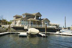 Executive house on the water. Executive home in a housing commuinity in Northern California with waterfront access to the delta Stock Photos