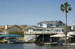 Executive house on the water. Executive home in a housing commuinity in Northern California with waterfront access to the delta Royalty Free Stock Images