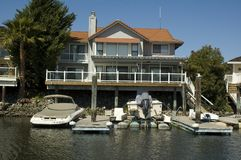 Executive house on the water. Executive home in a housing commuinity in Northern California with waterfront access to the delta Stock Image