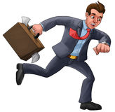Executive in a hurry. Late for his appointment with a mess suitcase royalty free illustration