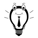 Executive Idea Bulb. A blub clip art with eyes, smile and tie royalty free stock photography