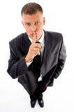 Executive instructing to keep silent Stock Image