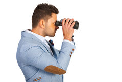 Executive looking through binocular Stock Image