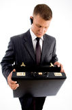 Executive looking his empty briefcase Royalty Free Stock Photography