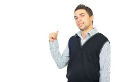 Executive male showing with his thumb Stock Photography