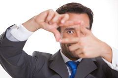 Executive man gesturing making a frame with fingers Stock Photography