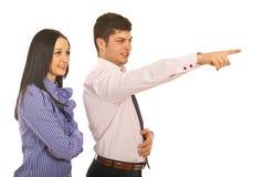 Executive man pointing something Stock Image