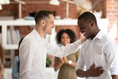 Free Executive Manager Congratulating African American Employee At Meeting Royalty Free Stock Photography - 173296127