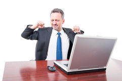 Executive manager taking a break and stretching Royalty Free Stock Photo