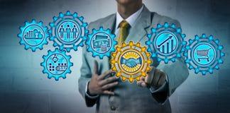 Executive Managing Deal Via Virtual Mechanism stock photos