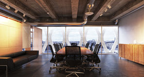 Executive modern empty business high rise office conference room overlooking a city with industrial accents. Photo realistic 3d rendering royalty free stock photography