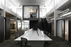 Executive modern empty business office conference room with overhead skylights and industrial accents . Royalty Free Stock Images