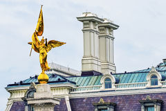 Executive Office Winged Victory Statue Army Memorial Wasington DC. Dwight Eisenhower Old Executive Office Buidling, Golden Winged Victory Statue First Division Stock Images