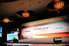 Executive Officer of Mazda speaking at CX-5 launch Royalty Free Stock Photography