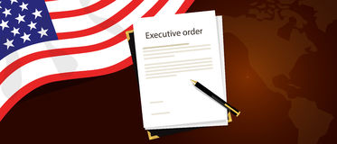 Executive order president authority regulation paper and pen to be signed with United States flag and America map behind. Vector royalty free illustration