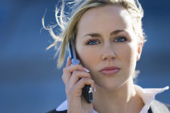 Executive Phonecall. A beautiful young female executive making a mobile phone call Royalty Free Stock Photo
