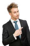Executive pointing finger gesture Stock Photography
