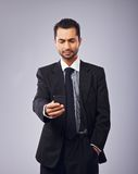 Executive Reading a Text Message Stock Images