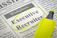 Executive Recruiter Wanted. 3D. Executive Recruiter - Small Ads of Job Search in Newspaper, Circled with a Yellow Marker. Blurred Image with Selective focus Stock Photo