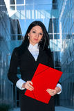 Executive with red folder Stock Photos