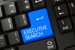 Executive Search CloseUp of Blue Keyboard Button. 3D. Stock Photography