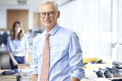 Executive senior businessman portrait. An executive senior sales men standing at the office while looking at camera and smiling Royalty Free Stock Images