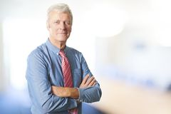 Executive senior manager portrait. Portrait of an executive senior businessman standing at office with arms crossed Royalty Free Stock Photos