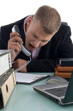 Executive shouting on phone. On an isolated background Stock Photo