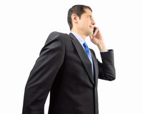 Executive is talking by smartphone Royalty Free Stock Images