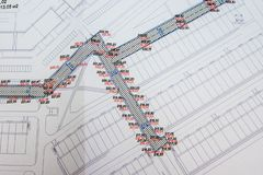 Executive topographical survey of the construction of intra-quarter passages, map royalty free stock photos