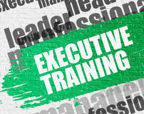 Executive Training on White Wall. Education Service Concept: Executive Training - on White Brickwall with Word Cloud Around. Modern Illustration. Executive Royalty Free Stock Images