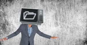 Executive with TV on head Royalty Free Stock Image