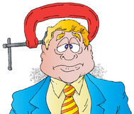 Executive Under Pressure. Cartoon of an Executive Under Pressure With a Large Vise on His Head Royalty Free Stock Image