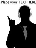 Executive using headphone and pointing royalty free illustration