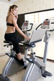 Executive woman doing exercise and working Stock Photo