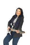 Executive woman with electronic guitar Royalty Free Stock Images