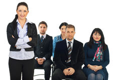 Executive woman in front of classroom Stock Photos