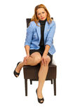 Executive woman hurting legs Royalty Free Stock Images